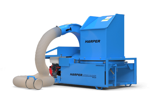 A rendering of a Harper Turf Top Feed Straw Blower
