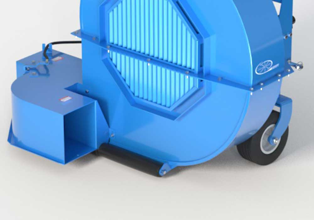 Debris Blower casters and full-width roller feature